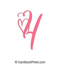 monogram, main, vecteur, dessiné, logo, calligraphie, signe, conception, vendange, valentin, frame., coeur, illustration, décoration florale, amour, 4., nombre, carte, quatre, page, élément, fleurir