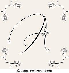 monogram, mano, fiorito, vettore, disegnato, logo., o