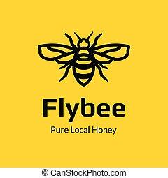 monogram, mosca, abelha, desenho, modelo, logotipo
