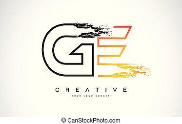 monogram, noir, moderne, ge, créatif, coup, conception, ...