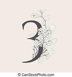 monogram, numéro 3, vecteur, fleurir, floral, logo