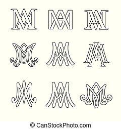 monogram, od, ave maria, symbolika, set., religijny, katolik, signs.