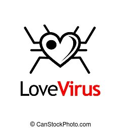 monogram, plat, liefde, virus, black , logo, template., design.