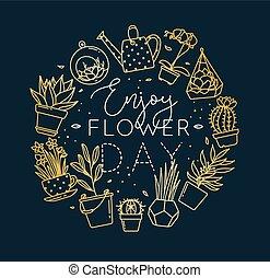Monogram pots with plants enjoy flower day gold