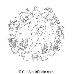 Monogram pots with plants enjoy flower day