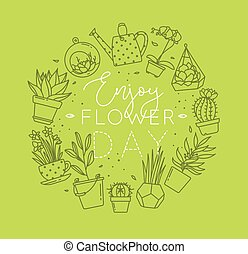 Monogram pots with plants enjoy flower light green