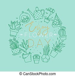 Monogram pots with plants enjoy flower turquoise