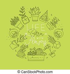 Monogram pots with plants life better light green