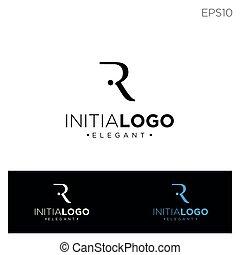 monogram, rr, kolor, początkowy, wektor, r, czarnoskóry, ilustracja, szablon, r, logo