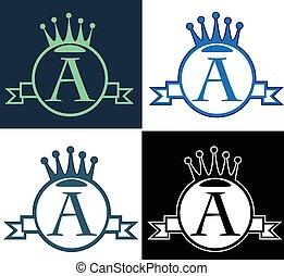 monogram, runder , art, krone, vektor, banner