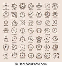 monogram, simple, grande, elegante, lujo, diseño, ramo,...