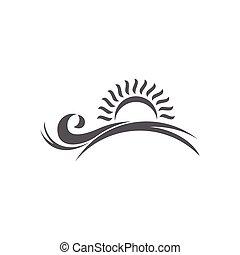 monogram sun waves horizon symbol logo vector