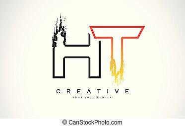 monogram, svart, nymodig, ht, skapande, slag, design, colors...