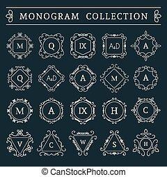 monogram, szüret, vektor, állhatatos