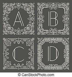 monogram, szürke, állhatatos, jel, sötét, háttér., vektor, tervezés, levél, főváros, virágos, geometriai, element.