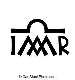 monogram, szűz, (madonna), keresztény, mária