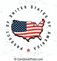 monogram, tシャツ, 合併した, グランジ, illustration., アメリカ, 作られた, 型, 私達, ラベル, 州, バックグラウンド。, seal., グラフィック, 情報通, レトロ, vector., ロゴ, アメリカ, design.
