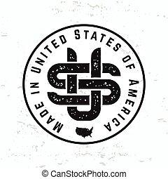 monogram, tシャツ, 合併した, グランジ, illustration., アメリカ, 作られた, 型, graphic., 私達, ラベル, 州, バックグラウンド。, seal., 情報通, デザイン, レトロ, vector., ロゴ, アメリカ