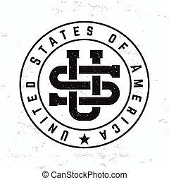 monogram, tシャツ, 合併した, グランジ, illustration., アメリカ, 型, graphic., 私達, ラベル, 州, バックグラウンド。, seal., 作られた, 情報通, レトロ, ロゴ, アメリカ, ベクトル, design.