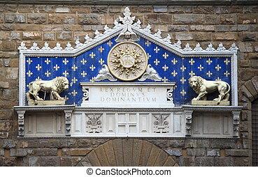 monogram, vecchio, palazzo, cristo