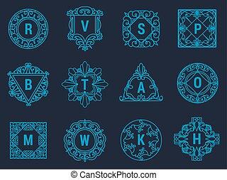 Monogram vector letter emblem logo vintage ornament design sign floral elegant frame decorative personal name branding or wedding icon illustration