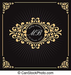 monogram, vendange, luxe, gabarit, logo