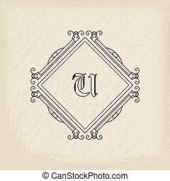 monogram, vendange, vecteur