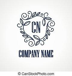 monogram, vendange, vecteur, logos.