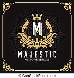 monogram, vendemmia, lusso, sagoma, logotipo