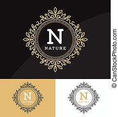 monogram, vendemmia, sagoma, logotipo