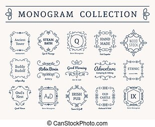 monogram, vendimia, vector, conjunto