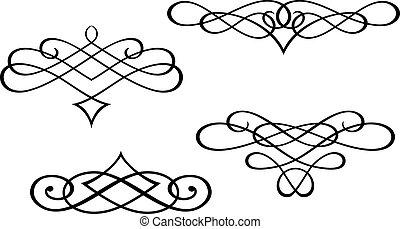 monogramas, y, remolino, elementos