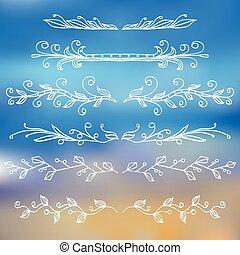 monogrammes, ensemble, vendange, style, frontières, design.