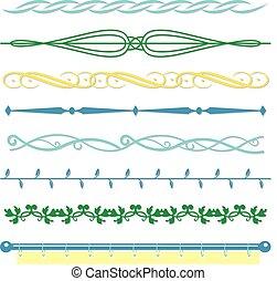 monogrammes, ensemble, vendange, style, vecteur, conception, frontières, ligne
