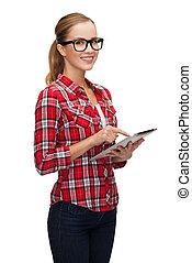 monokle, pastylka pc, komputer, uśmiechnięta dziewczyna