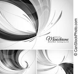 monokrom, abstrakt, bakgrund