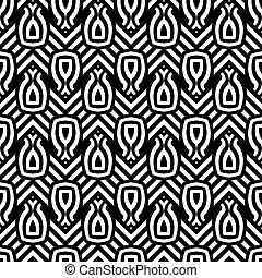 monokrom, geometrisk formgivning, seamless, mönster