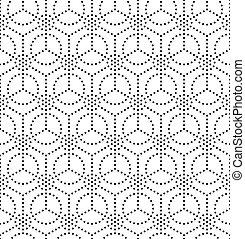 monokrom, geometrisk, seamless, mönster