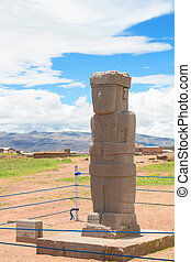 Monolith at ruins of Tiwanaku, Boli - Ponce Stela in the...