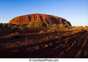 Monolith of Uluru on rising.