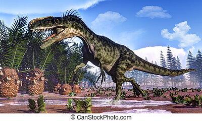 Monolophosaurus dinosaur - 3D render - One monolophosaurus...