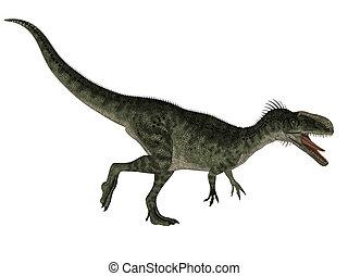 Monolophosaurus dinosaur isolated on white background