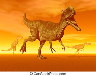 Monolophosaurus dinosaurs- 3D Render - Three monolophosaurus...