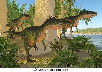 Monolophosaurus Dinosaurs - A group of Monolophosaurus...