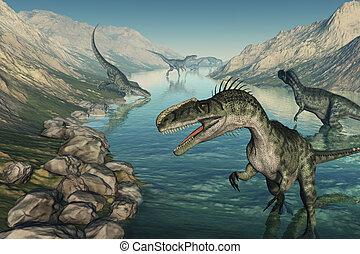 Monolophosaurus Dinosaurs Exploring - Several...