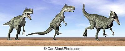 Monolophosaurus dinosaurs in the desert - 3D render - Three...