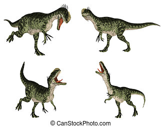 Monolophosaurus Pack - Illustration of a pack of four (4)...