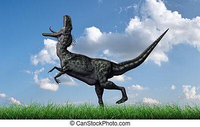monolophosaurus running on green grass