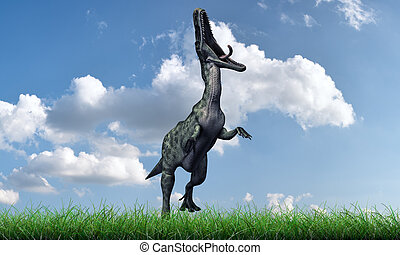 monolophosaurus with open mouthed running on green grass