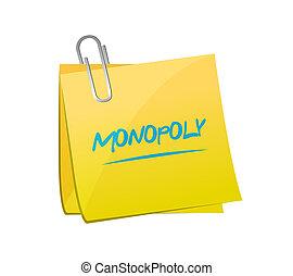 monopólium, állás, üzenet, concept.